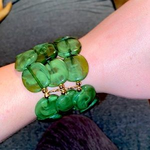 Chunky green layered bracelet